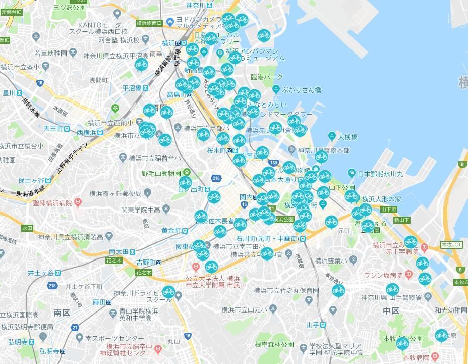 横浜シェアサイクルレンタルポートMAP