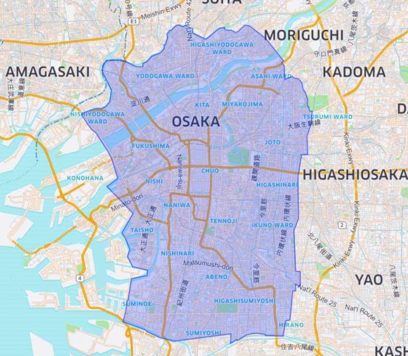 ウーバーイーツ大阪のサービスエリアマップ