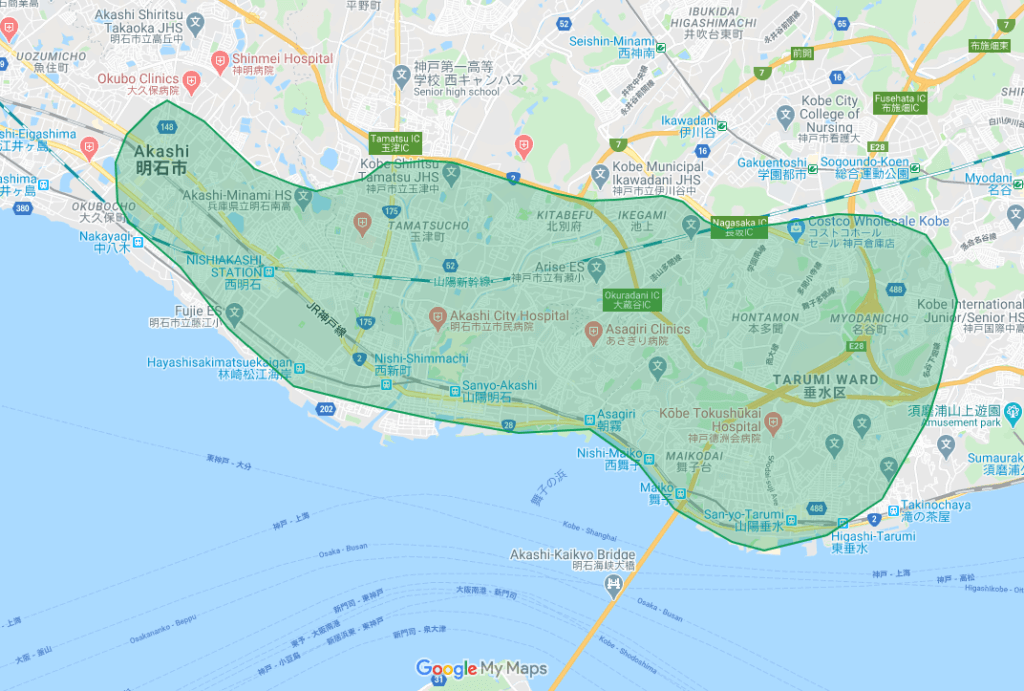 Uber Eats(ウーバーイーツ)明石市、神戸市垂水区のエリア