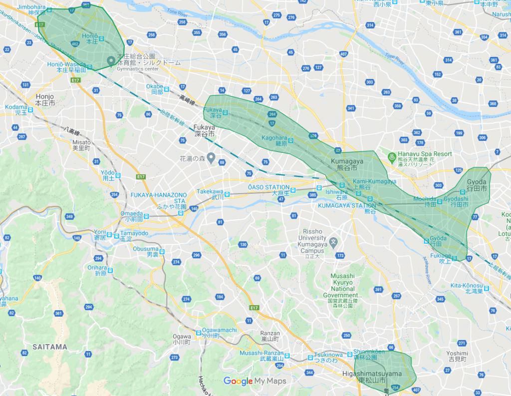 Uber Eats(ウーバーイーツ)埼玉県熊谷市、東松山市、本庄市のエリア