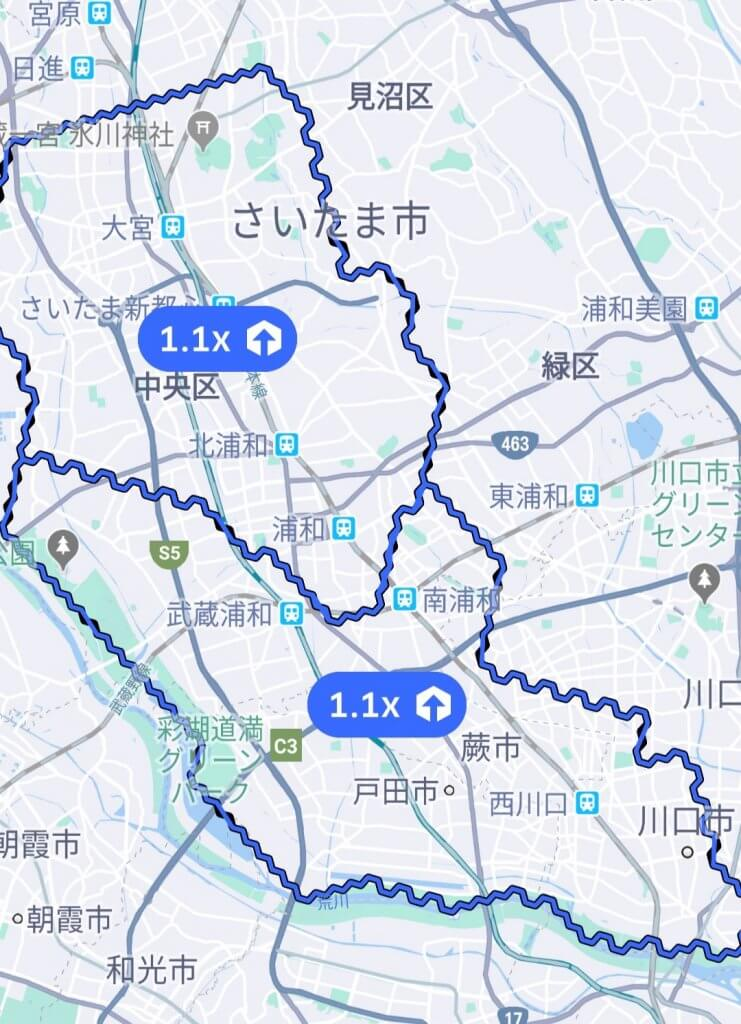 ウーバーイーツ埼玉のエリアmap