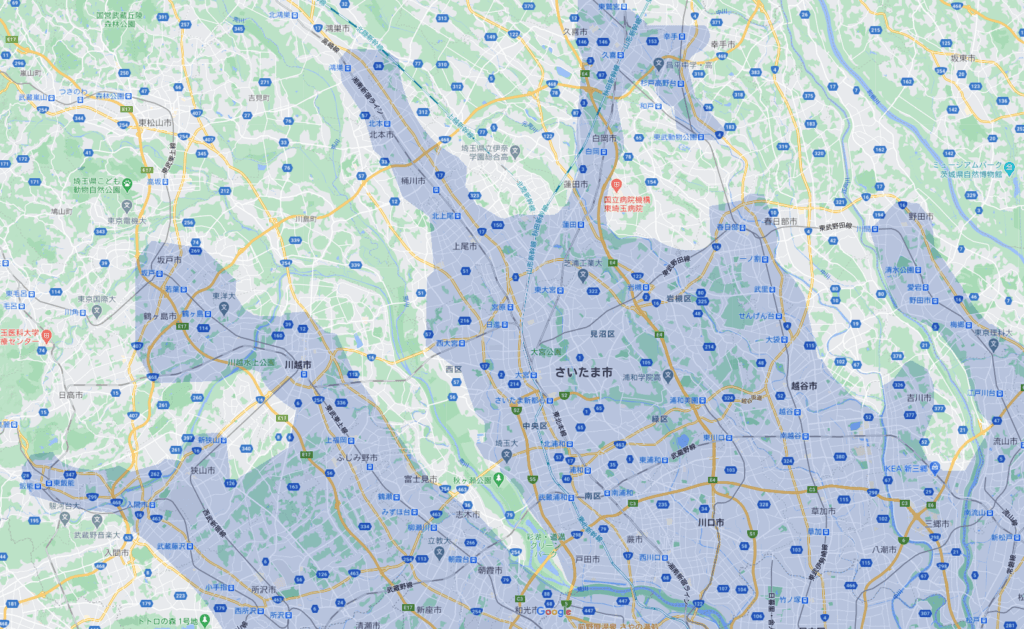 Uber Eats(ウーバーイーツ)埼玉県のエリア