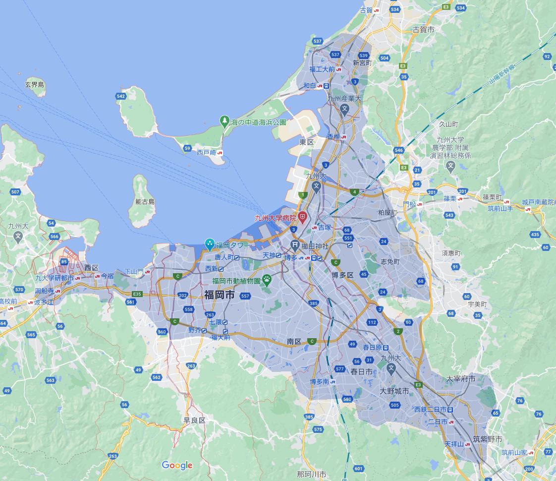 Uber Eats(ウーバーイーツ)福岡のエリアMAP2020年4月