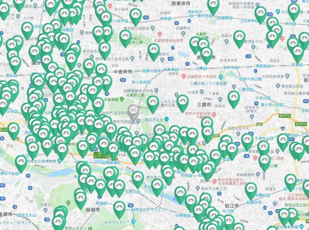 西東京エリアのレンタサイクルポート