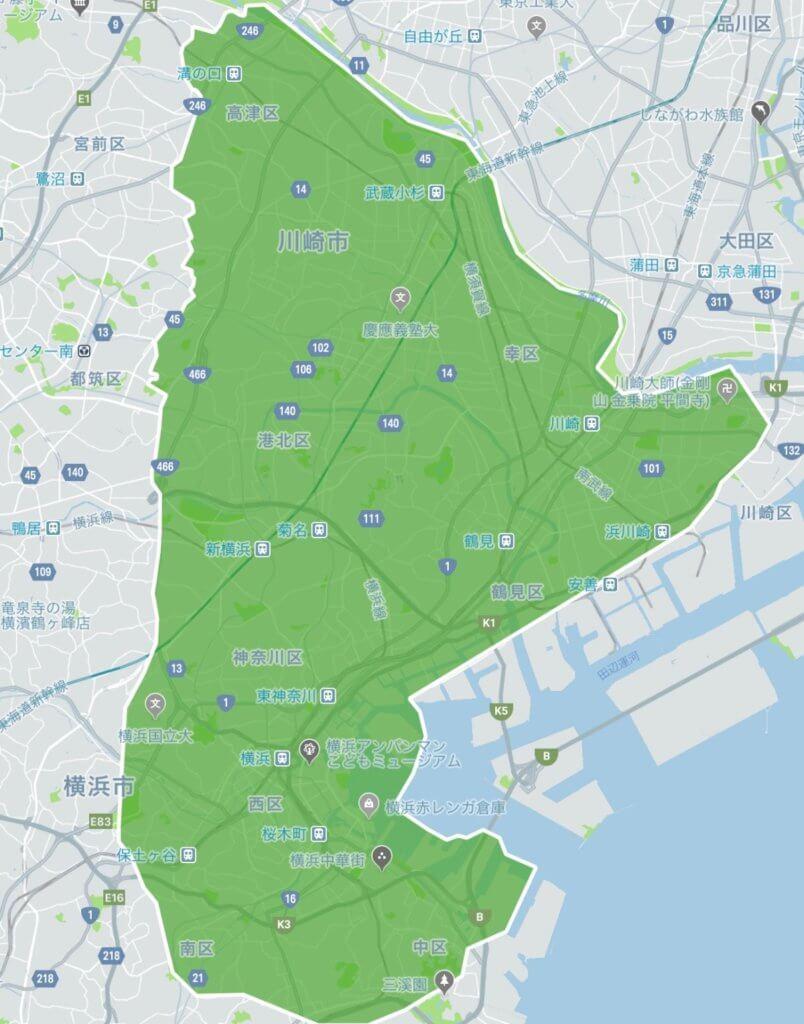 ウーバーイーツ横浜・川崎のエリアMAP