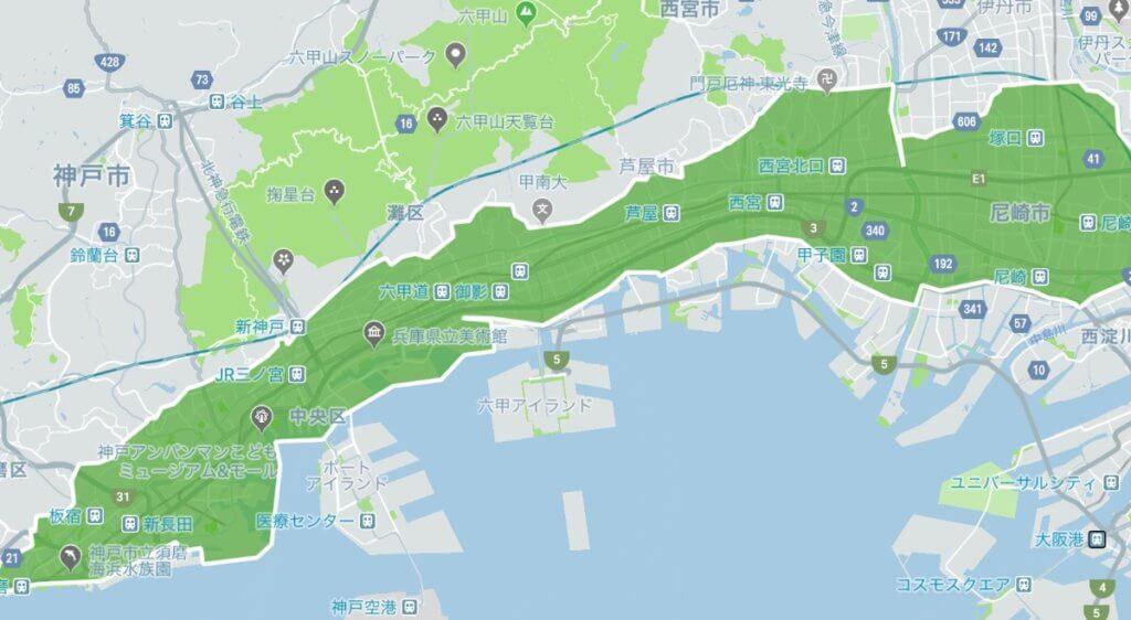 ウーバーイーツ神戸のエリアMAP