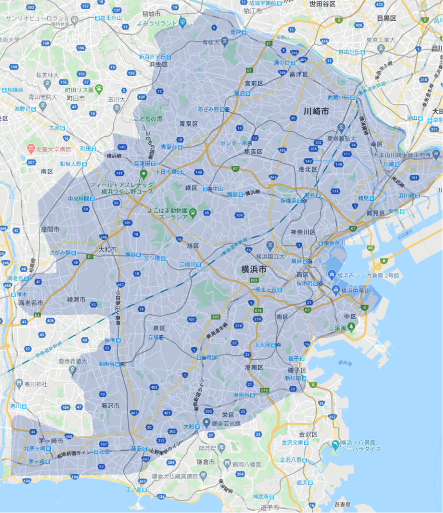 Uber Eats(ウーバーイーツ)神奈川のエリア
