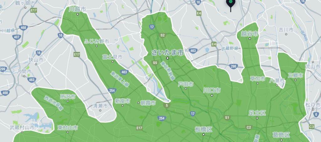Uber Eats(ウーバーイーツ)埼玉のエリアMAP2020年4月