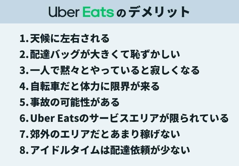 Uber Eats(ウーバーイーツ)配達員の8つのデメリット