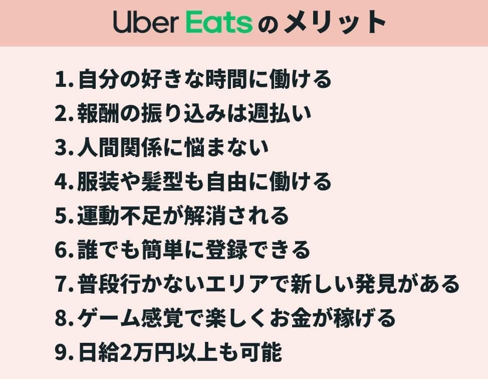 Uber Eats(ウーバーイーツ)配達員の9つのメリット