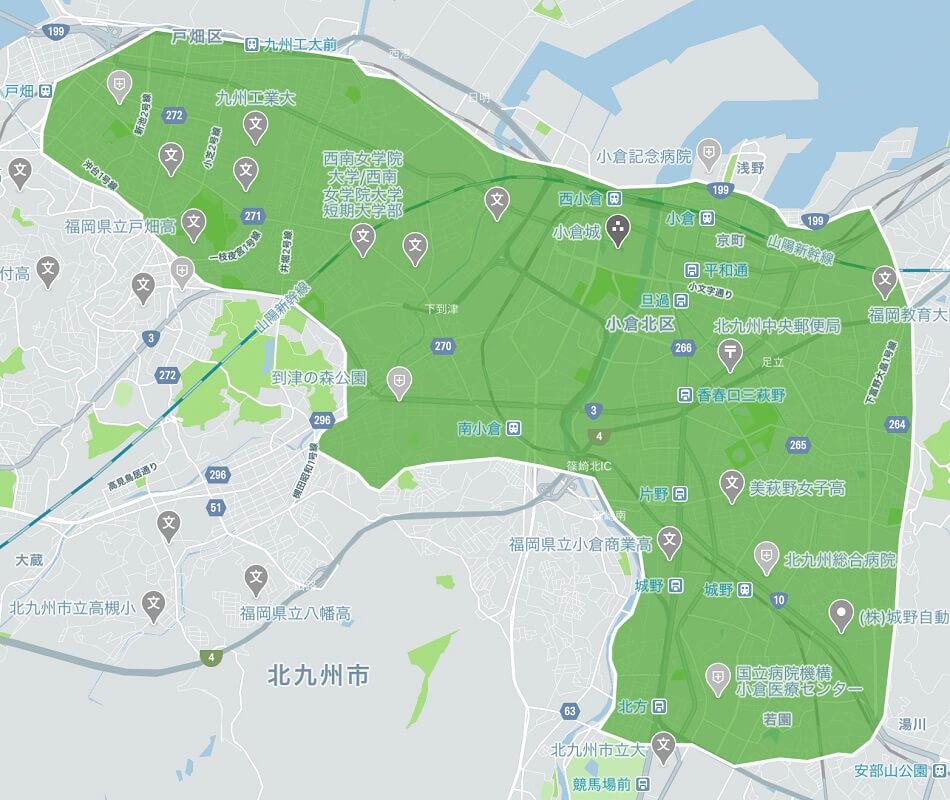 Uber Eats(ウーバーイーツ)北九州市のエリアMAP