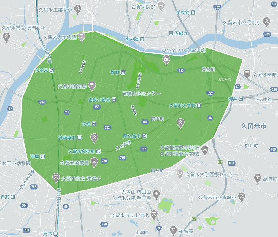 Uber Eats(ウーバーイーツ)久留米市のエリアMAP