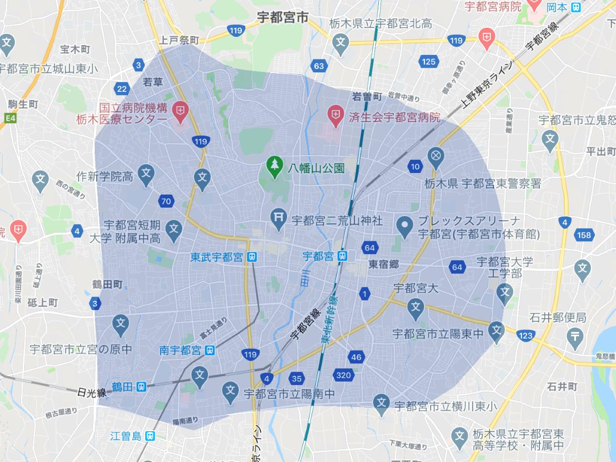 Uber Eats(ウーバーイーツ)栃木県宇都宮市のエリア