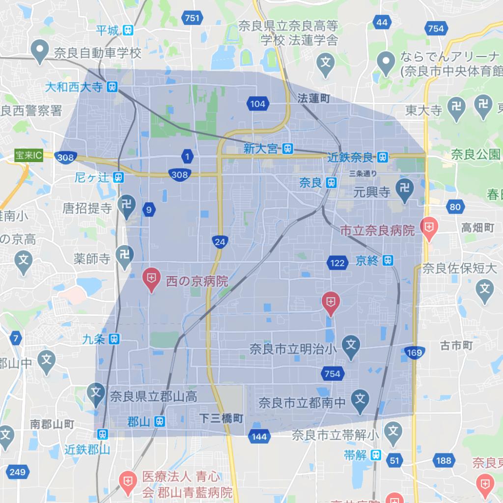 Uber Eats(ウーバーイーツ)奈良のエリア