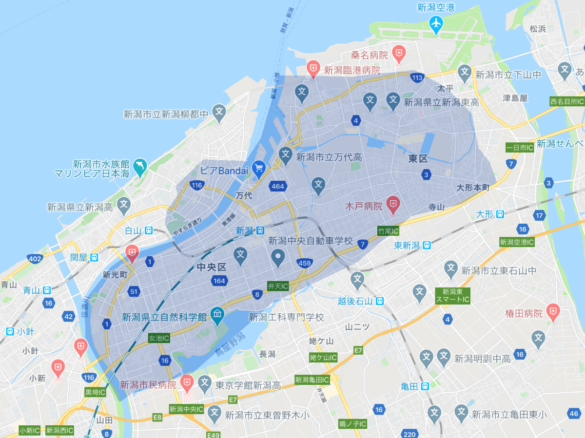 Uber Eats(ウーバーイーツ)新潟市のエリア