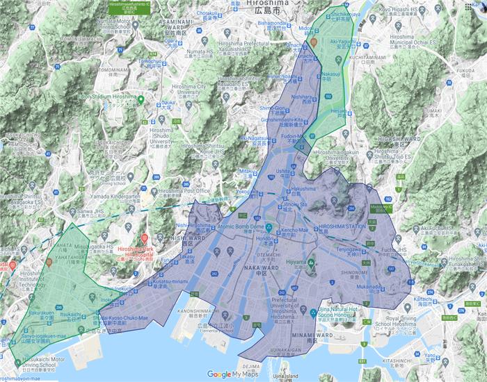 Uber Eats(ウーバーイーツ)広島のエリア