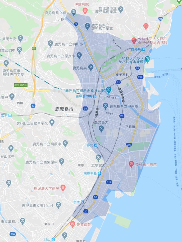 Uber Eats(ウーバーイーツ)鹿児島のエリア