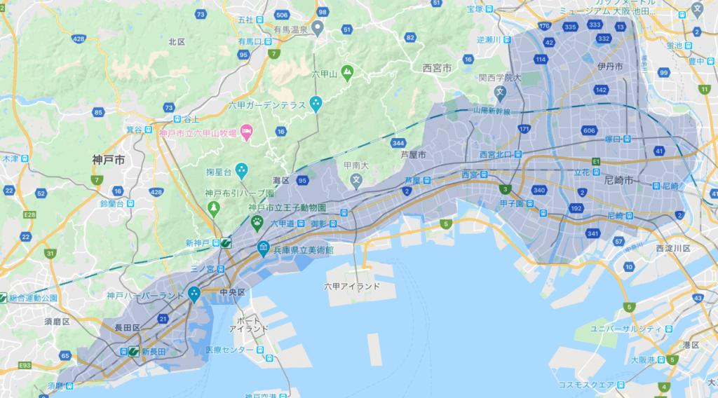Uber Eats(ウーバーイーツ)神戸市のエリア2020年7月
