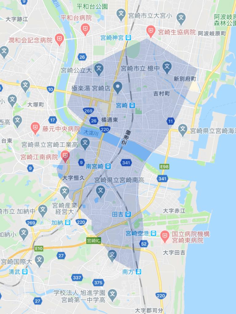 Uber Eats(ウーバーイーツ)宮崎のエリア
