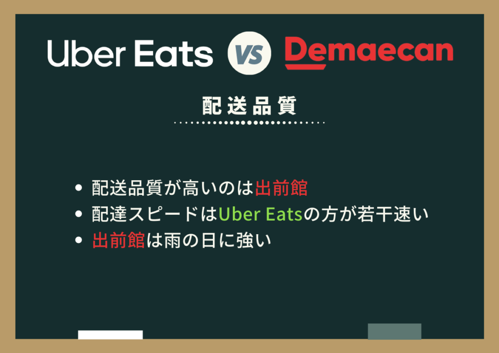 Uber Eats(ウーバーイーツ)と出前館の配送品質や配達の速さを比較