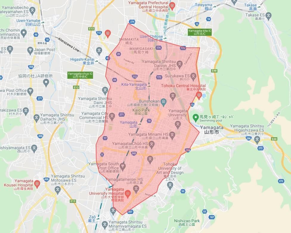 山形のUber Eats(ウーバーイーツ)のエリア地図画像