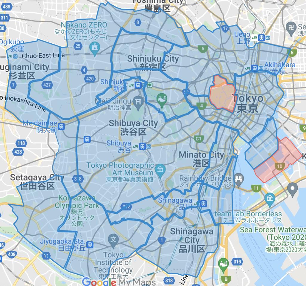 東京のWolt(ウォルト)のエリア